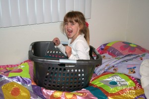 Amara in the laundry basket