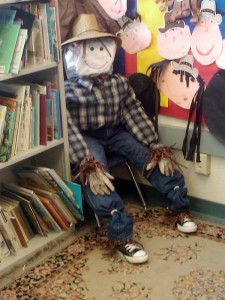 Mr. Scarecrow relaxing in the 1st grade