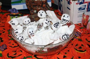 Goblins made from Tootsie Roll Pops and Kleenex