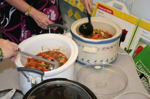 The students made us vegetable soup.