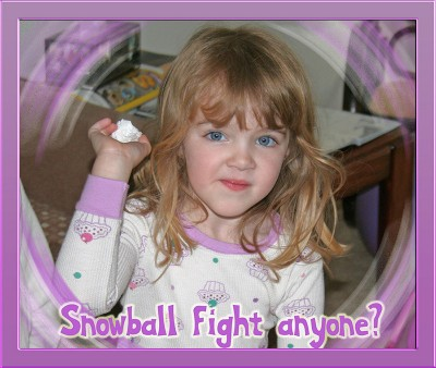 Amara throwing a snowball