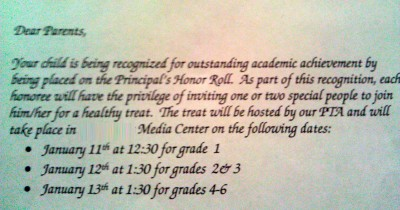 Principal's Honor Roll Announcement