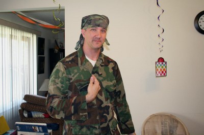 Mr. Justin in camouflage fatigues