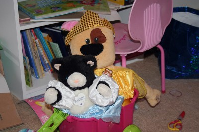 Dressed in costumes - Spot and Kitty stuffed in a wagon