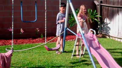 Amara, Fred and the Water Slide