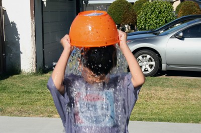 Fred dumps water on his head