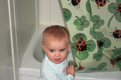 Amara in the Ladybug Bathroom