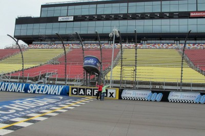 Sandy and Kc on the start/finish line at MIS