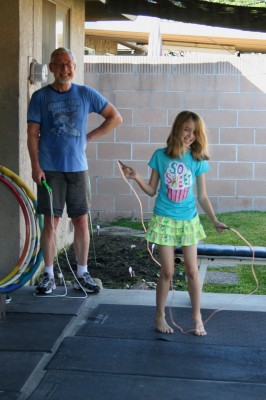 Amara and Grampy jumping rope