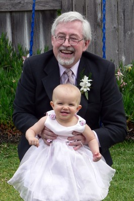 Amara and Grampy Swinging on our Wedding Day