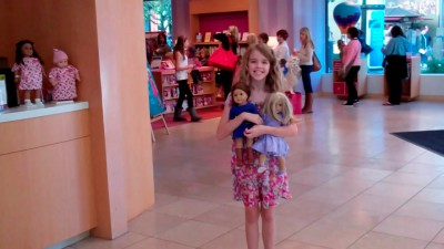 Amara, Lily and Saige at The American Girl Store