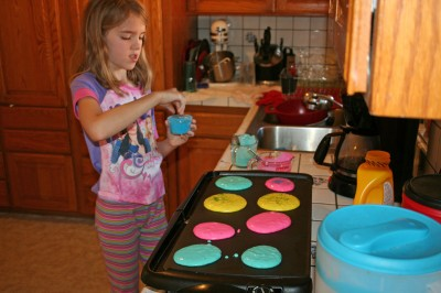 Amara adds Sprinkles to her Colored Pancakes