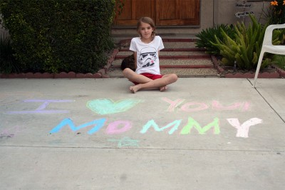Amara's Mother's Day chalk greeting for Mommy