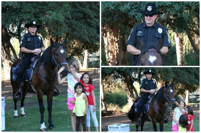 The girls with the Mounted Police and his horse.
