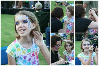 Amara getting her face painted collage