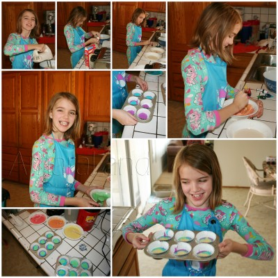 Amara making My Little Pony rainbow cupcakes