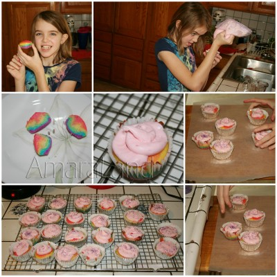 Amara frosting her My Little Pony rainbow cupcakes