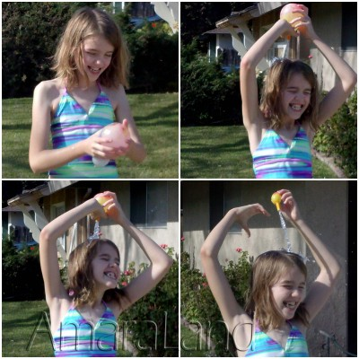 Amara drenching herself with a water balloon. Repeatedly.