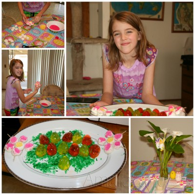 Amara made Easter giggler eggs and decorated the plate with the flowers she made.