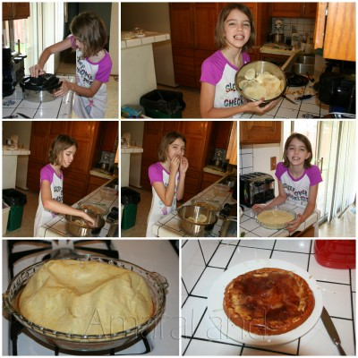A collage of Amara making her first Apple Pancake