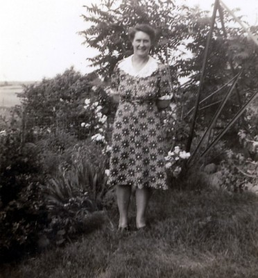 Grandma N out on the old farm in late 1940s or early 1950s.