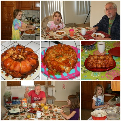 A collage of pictures of Amara, Grampy and Monkey Breads