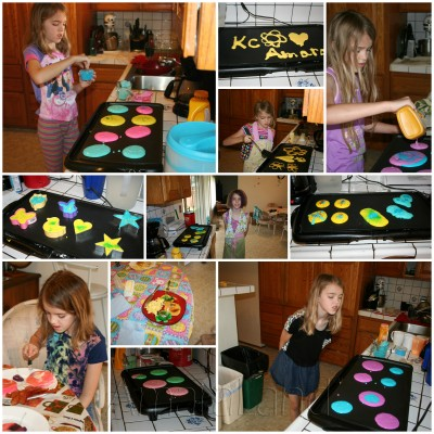 A collage of Amara and many of her pancake creations.