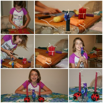 Collage of Amara's candlemaking