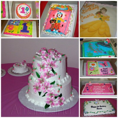 A collage of the cakes we have gotten from ABC Cakes