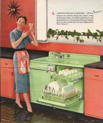 Advertisement for Frigidaire green dishwasher sink combination