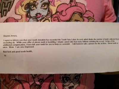 Amara and her letter from the Tooth Fairy