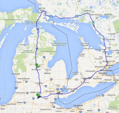 Our route from Jonesville, Michigan through Ontario, Canada and back to Jonesville.
