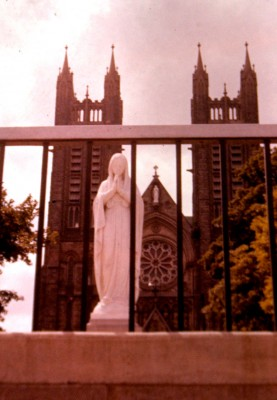 Statue of the Virgin Mary in front of St. Peter's Cathedral in Canada
