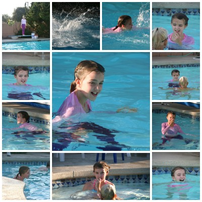 Collage of Amara at her swim test August 2014