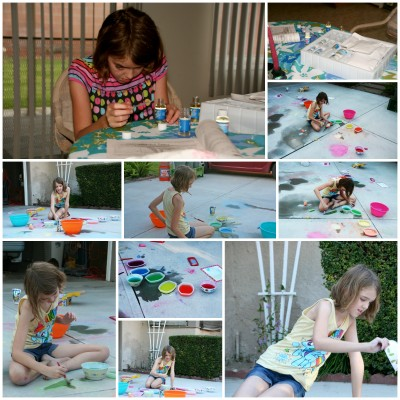 Collage of Amara playing with her perfume kit and painting with her chalk.