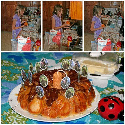 Collage of Amara making Daddy Orange Monkey Bread for his birthday