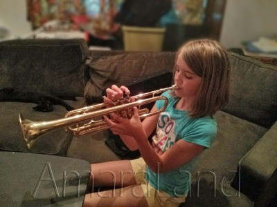 Amara and her new trumpet