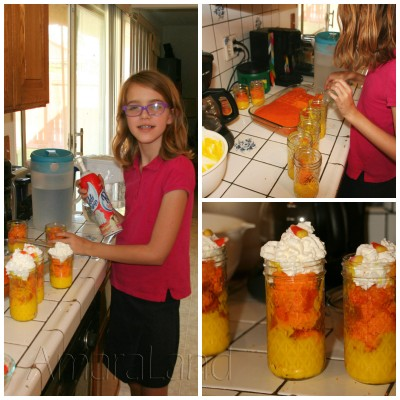Amara and her candy corn parfaits