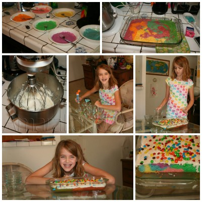 Amara and her rainbow cake collage