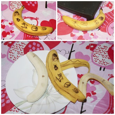 The tattooed banana and after it was peeled