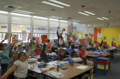 The Cat in the Hat and a roomful of Dr. Seuss readers