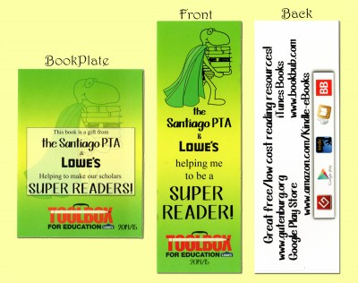 Bookplate and front and back of Bookmark