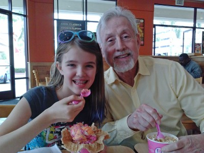 Amara and Grampy eating Baskin & Robins