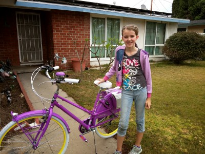 Amara and her new purple bike