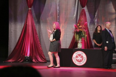 Jenna receiving her award for Parent of the Year