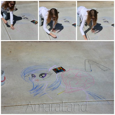 Amara's drawing a My Little Pony with chalk