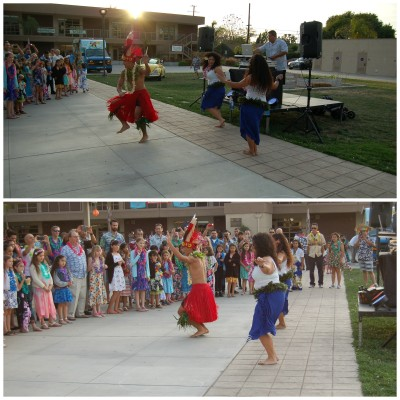 The Hula Dancers performing for the crowd
