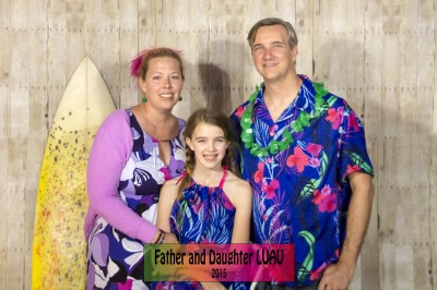 Jenna, Amara and Justin at the 2015 Father and Daughter LUAU