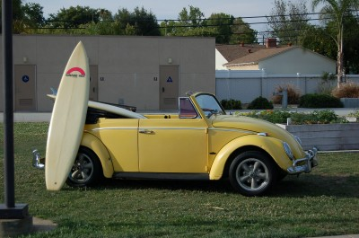 The yellow VW with surfboards