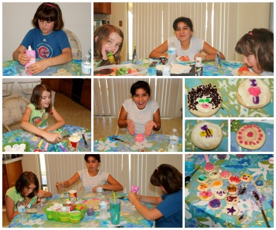 Collage of the girls making cookies